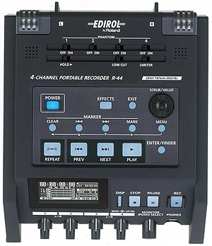 Roland Edirol R-44 4-Channel Portable Sound Recorder, Top Panel