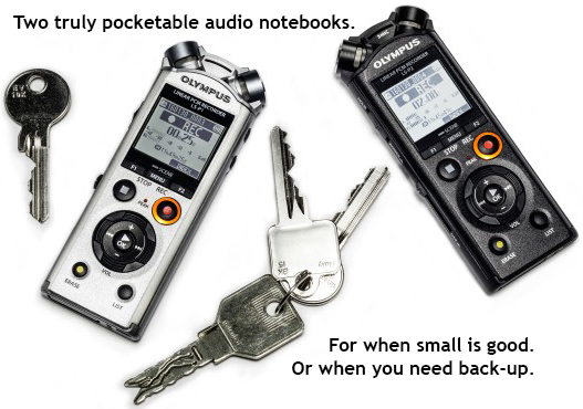Olympus LS-P1 & LS-P2 Recorders with keys, demonstrating scale