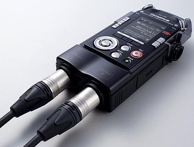 Olympus LS-100 Handheld Portable Audio Recorder, angled with XLR connectors