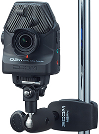 Zoom Q2n Video Camera, mounted on mic stand adaptor