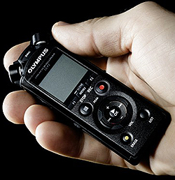 Olympus LS-P2 Recorder cupped in hand
