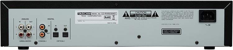 Tascam CD-RW900MKII CD Recorder, Rear Panel