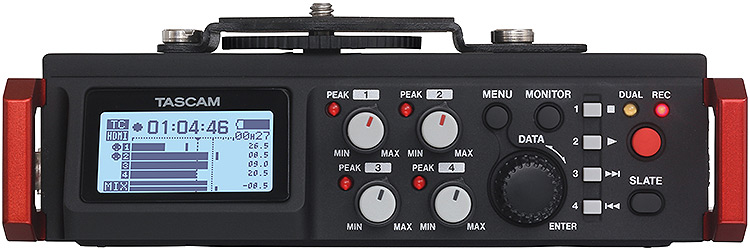 Tascam DR-701D 6-Channel Portable Recorder/Mixer, front panel