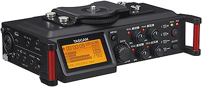 Tascam DR-70D 4-Channel Portable Recorder/Mixer, angled