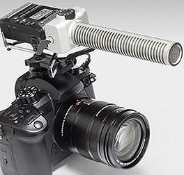 Zoom F1-SP with SGH-6 Shotgun microphone on camera