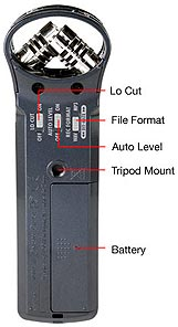 Zoom H1 Handheld Recorder, back panel