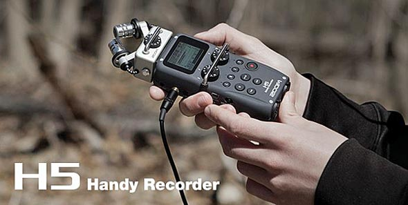 Zoom H5 4-Track Portable Audio Recorder, in hand