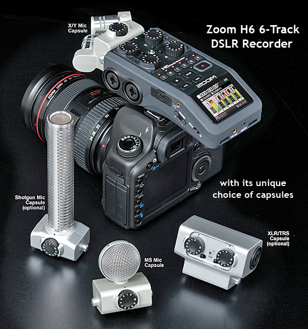 Zoom H6 6-Track DLSLR Audio Recorder, with microphone modules