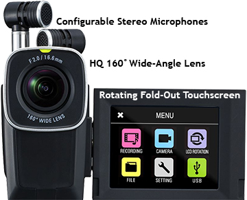 Zoom Q4n Video Camera with Hi-Def Audio, fold-out screen detail