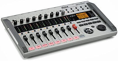 Zoom R24 Portable 24-Track Recorder Mixer Interface Controller Sampler, angled