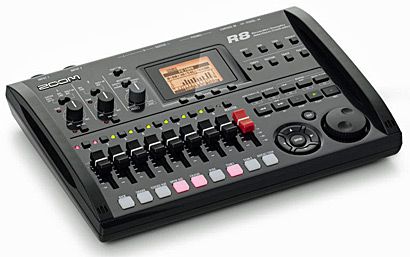 Zoom R8 Portable 8-Track Recorder Mixer Interface Controller, angled