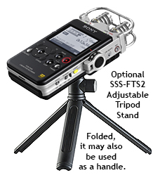 Sony PCM-D100 Portable Hi-Res Audio Recorder, on SSS-FTS2 Tripod Stand